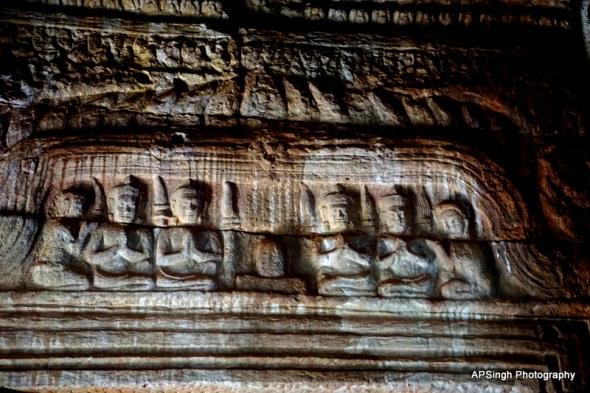 Buddha Engravings Replaced by Shiva Linga