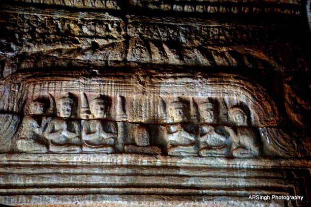 Buddha Engravings Replaced by Shiva Linga